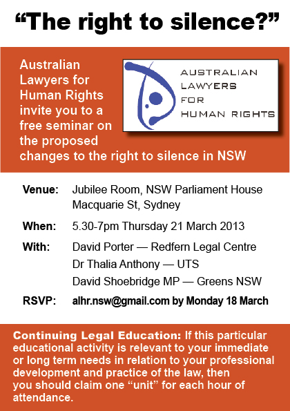 EVENT: ALHR Seminar on the Right to Silence in NSW