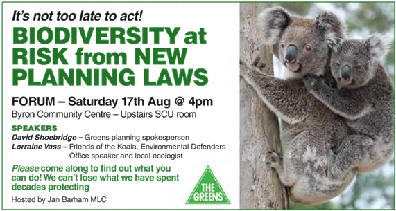 BYRON EVENT: Biodiversity at risk from new planning laws