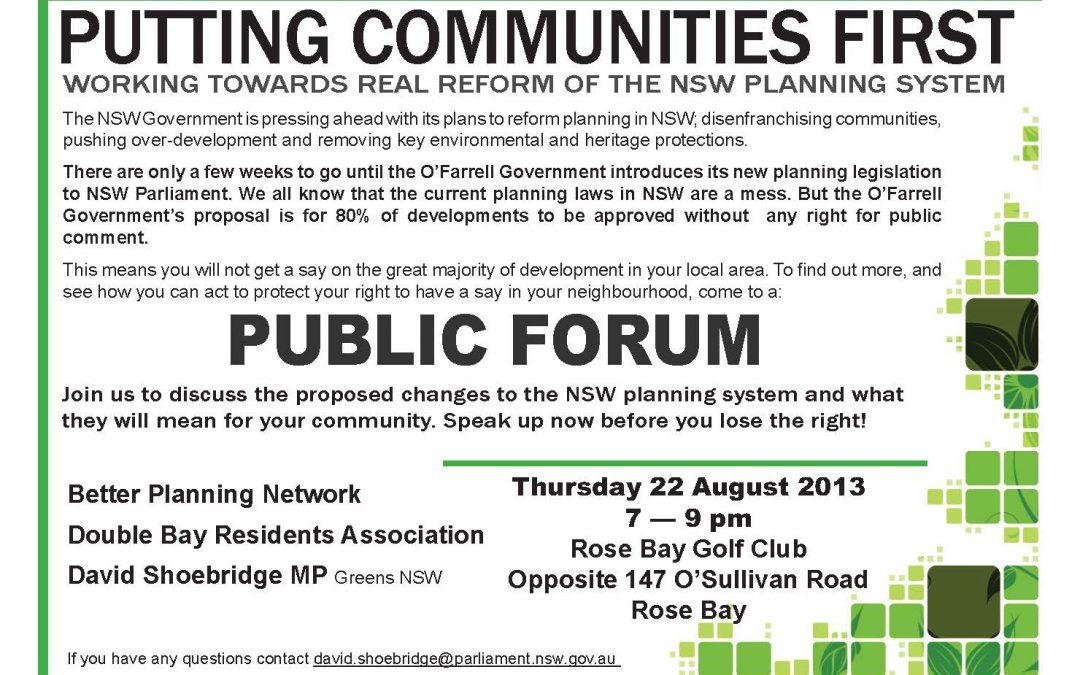 Rose Bay Planning Forum