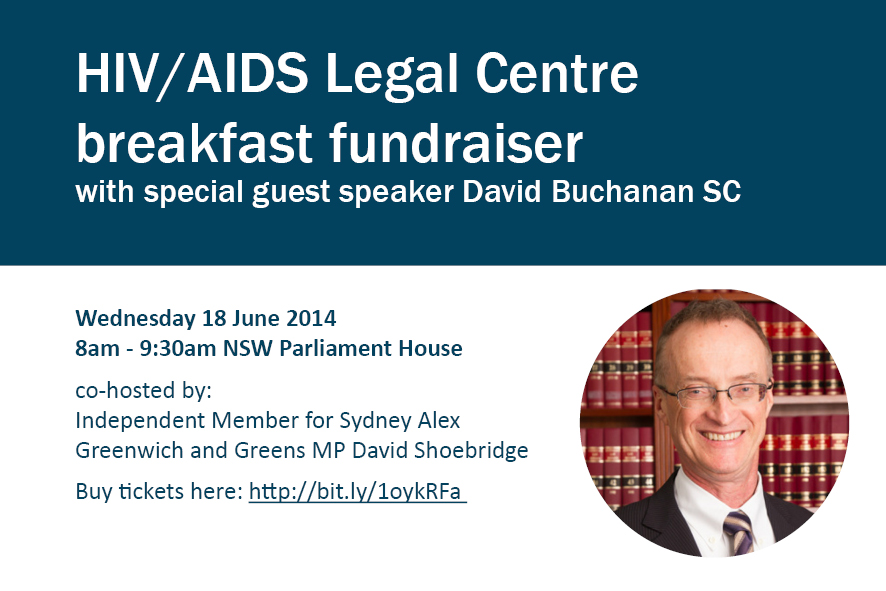 HIV/AIDS Legal Centre Breakfast with special guest David Buchanan SC