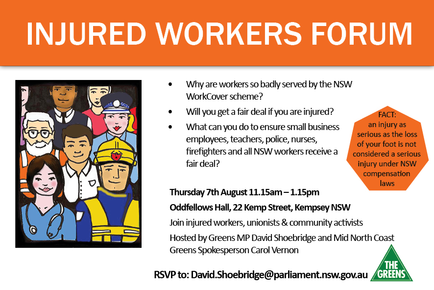 EVENT: Injured workers forum 7 August