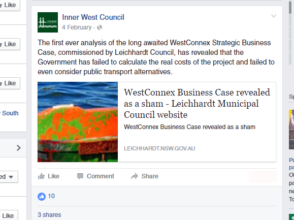 Baird's New Inner West Council Administration censors opposition to West Connex