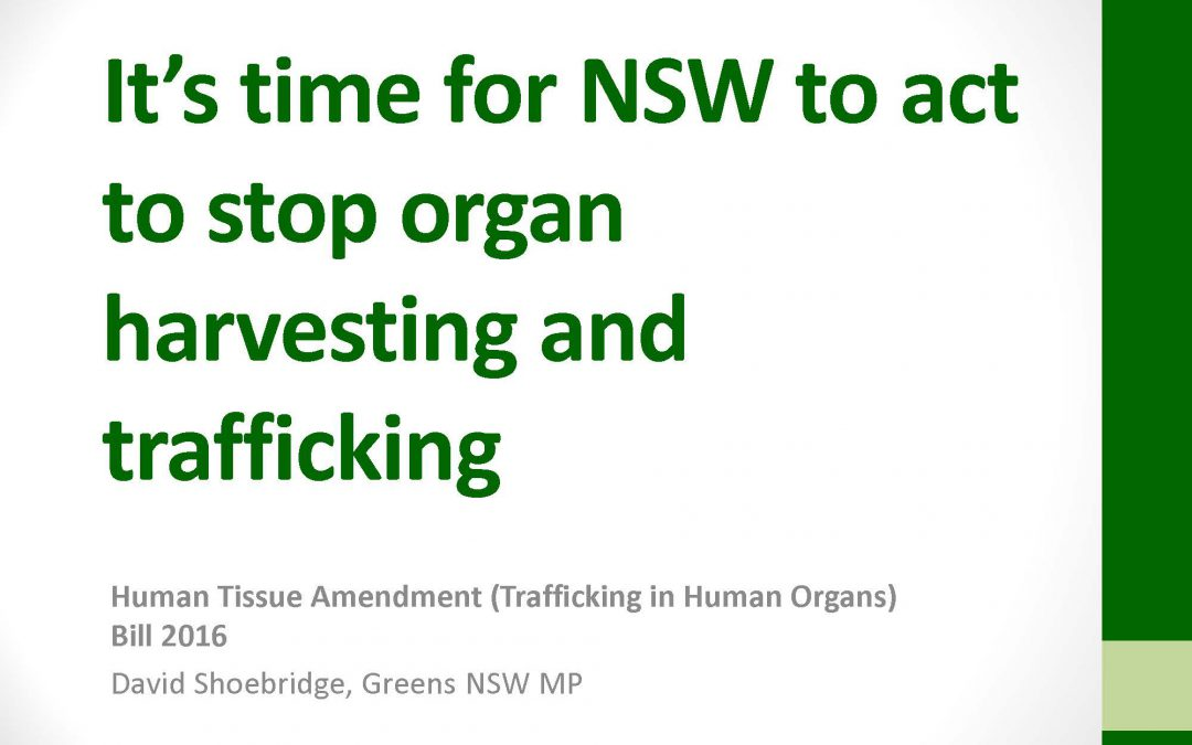 It's time for NSW to act to stop organ harvesting and trafficking